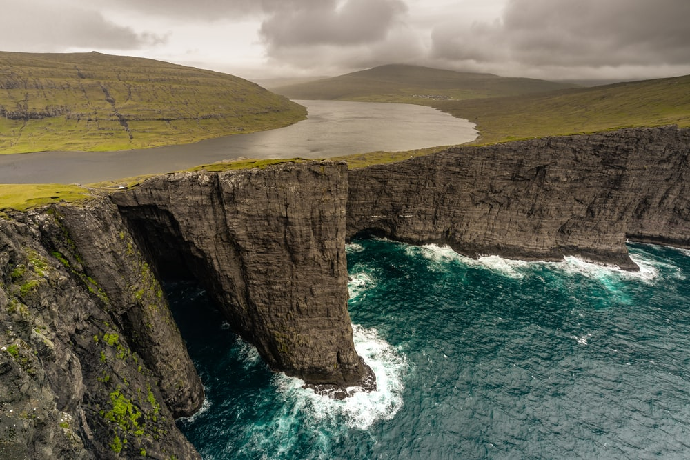 aerial photographyof cliff near body of water