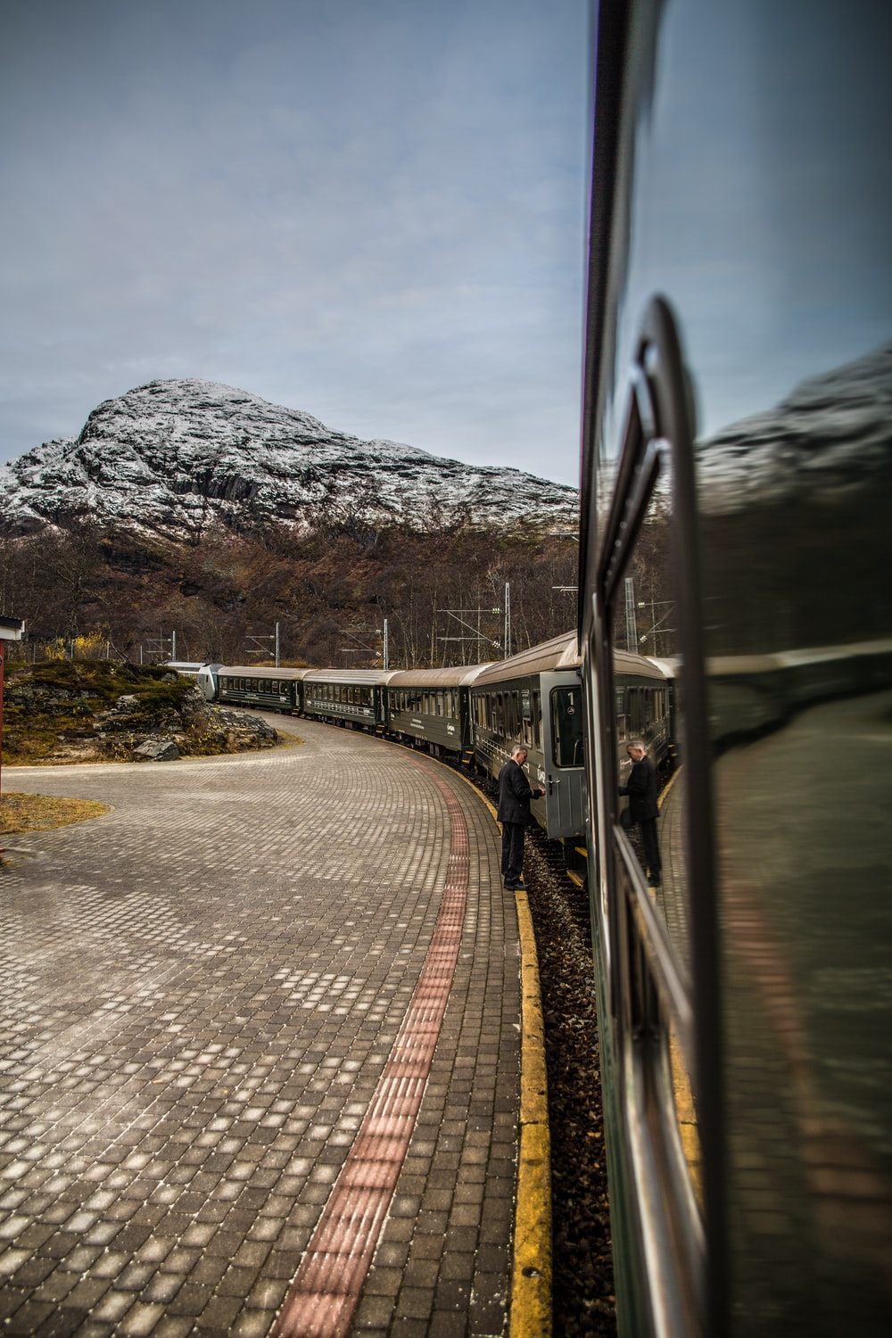 train view with mountain