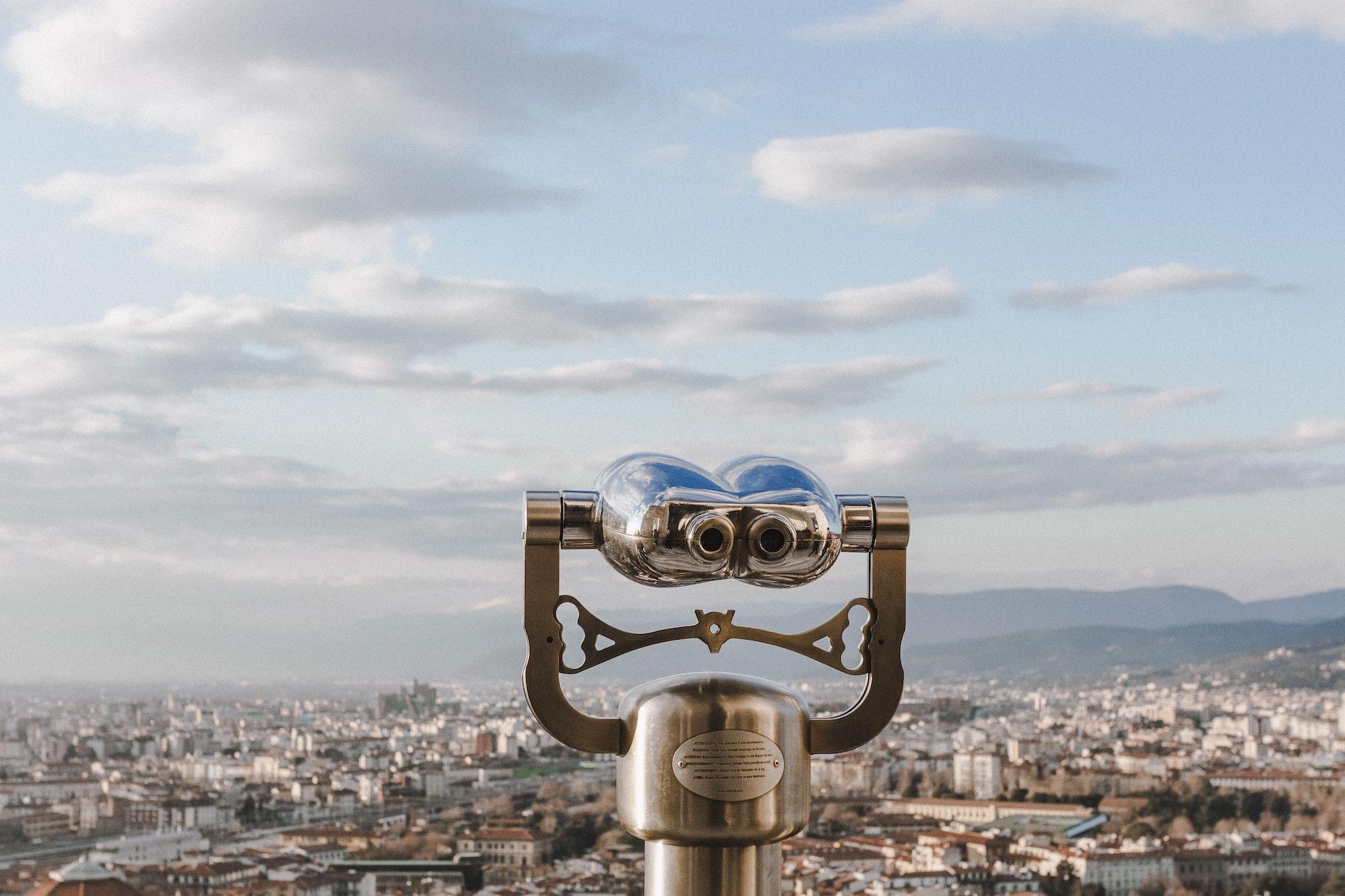 Binoculars overlooking Florence, Italy