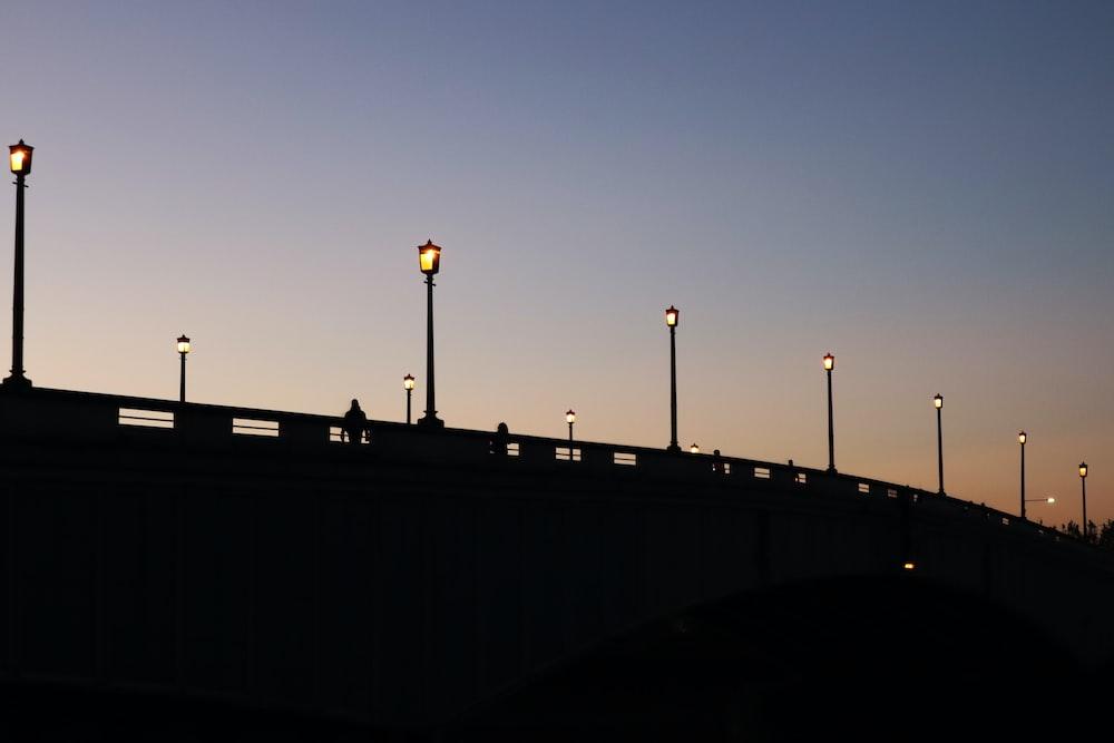 silhouette of pole light