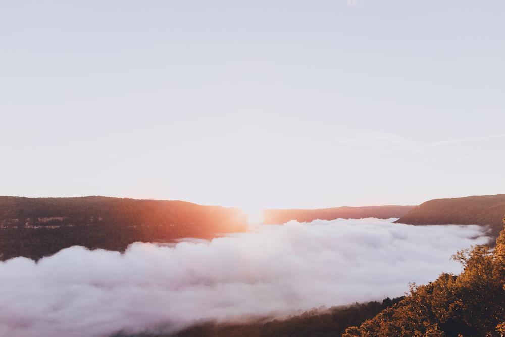 white smoky mountain during sunset