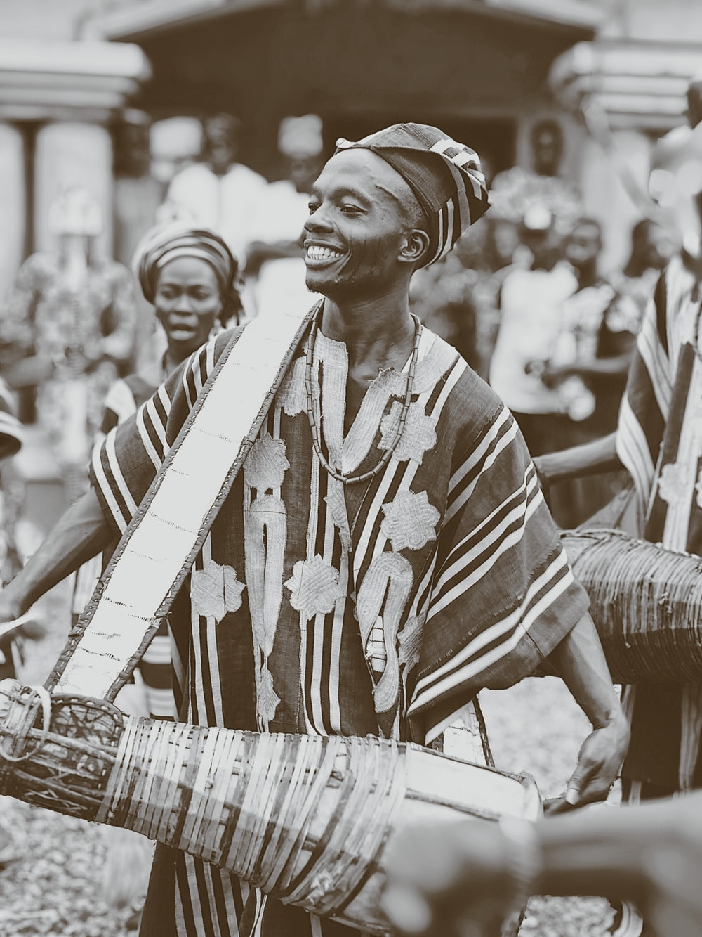 grayscale photography of tribal people