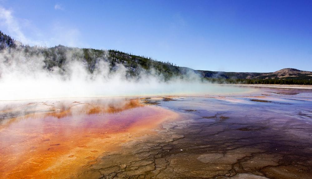 smoke over geyser