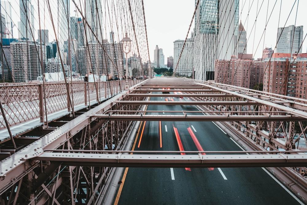 gray metal hanging bridge