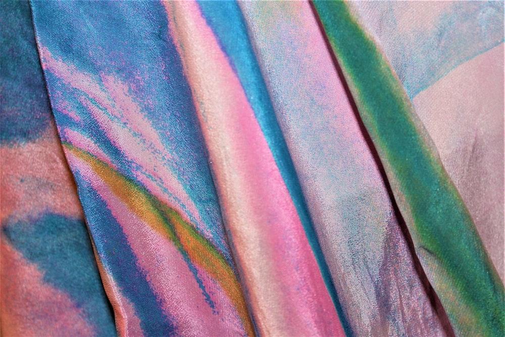 pink blue green textile