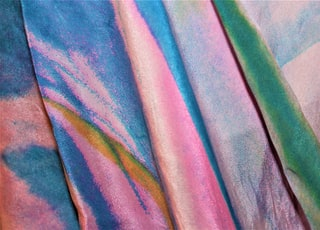 pink blue green textile