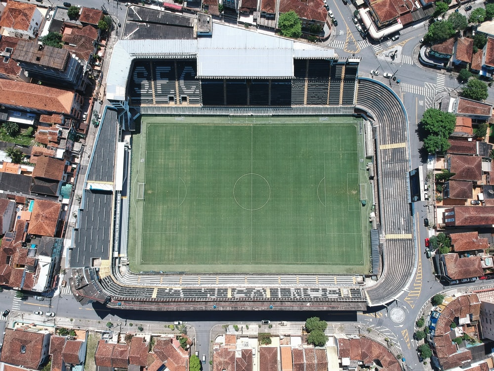 aerial photography of open soccer arena