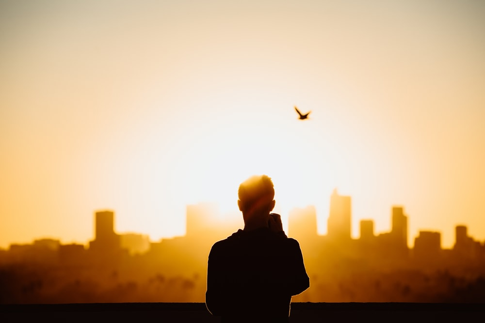 silhouette photography of person during sunrise