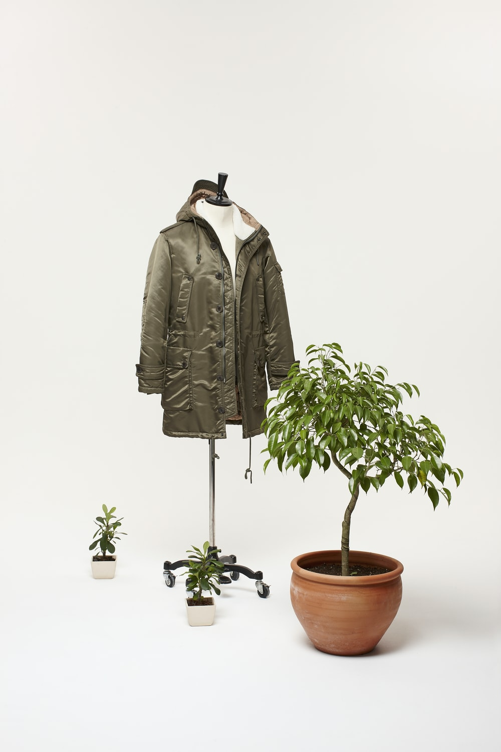 brown jacket beside green plant
