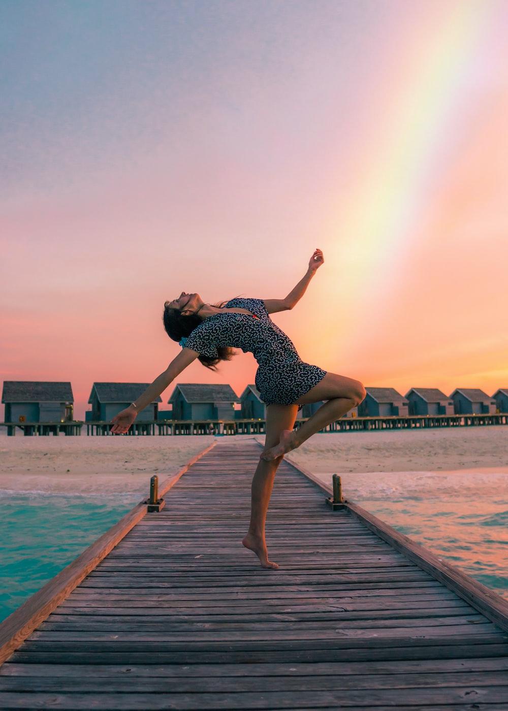 woman standing on dock