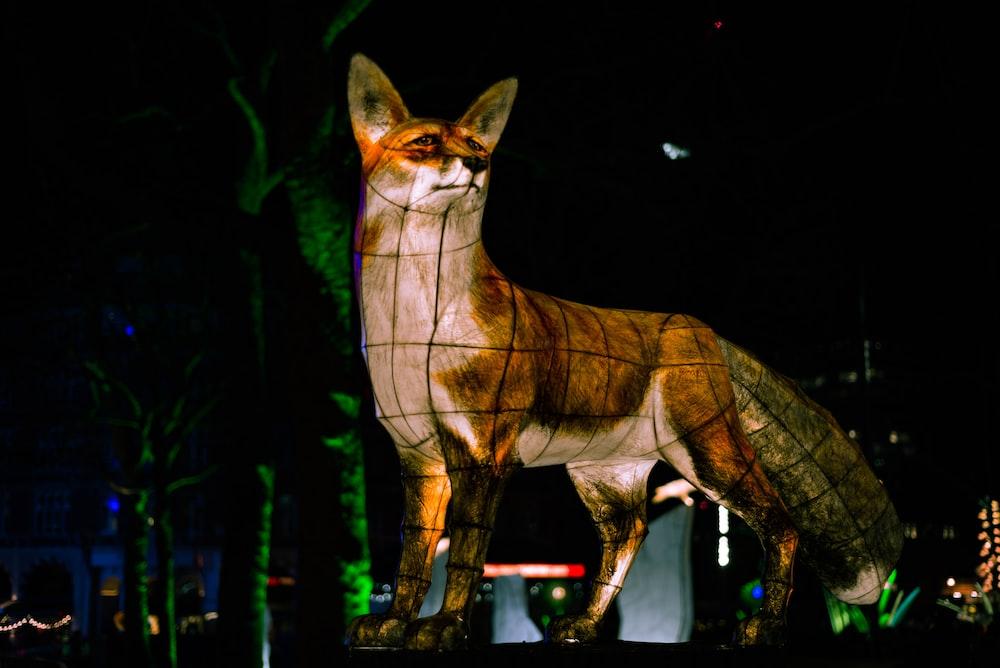 brown fox statue