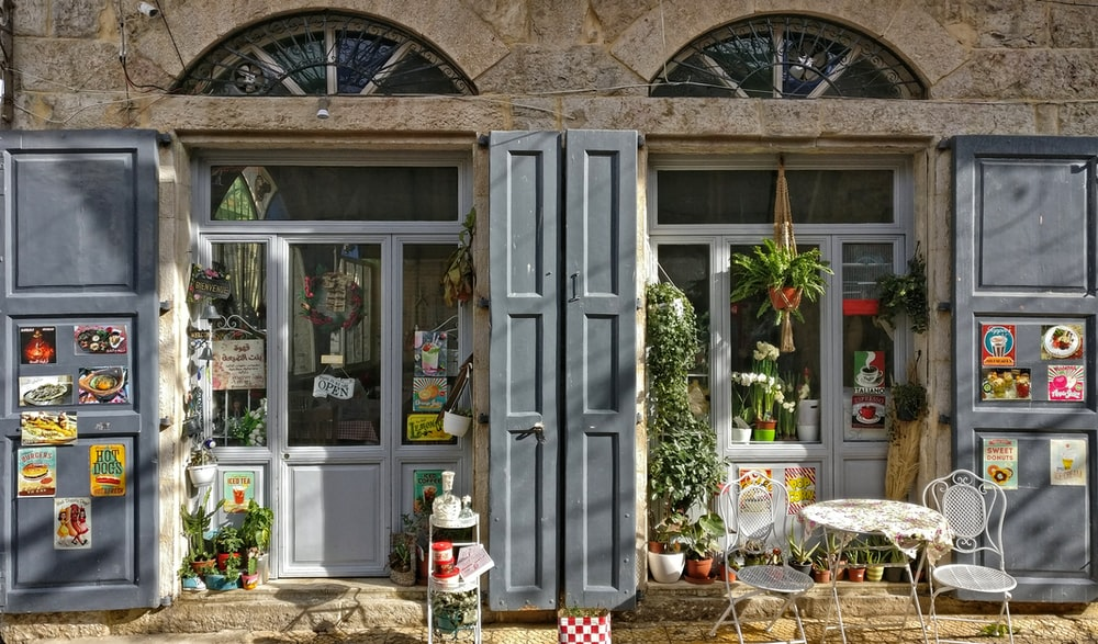 gray wooden doors