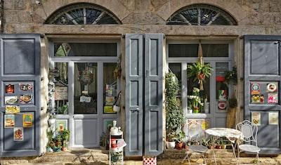 gray wooden doors jar teams background