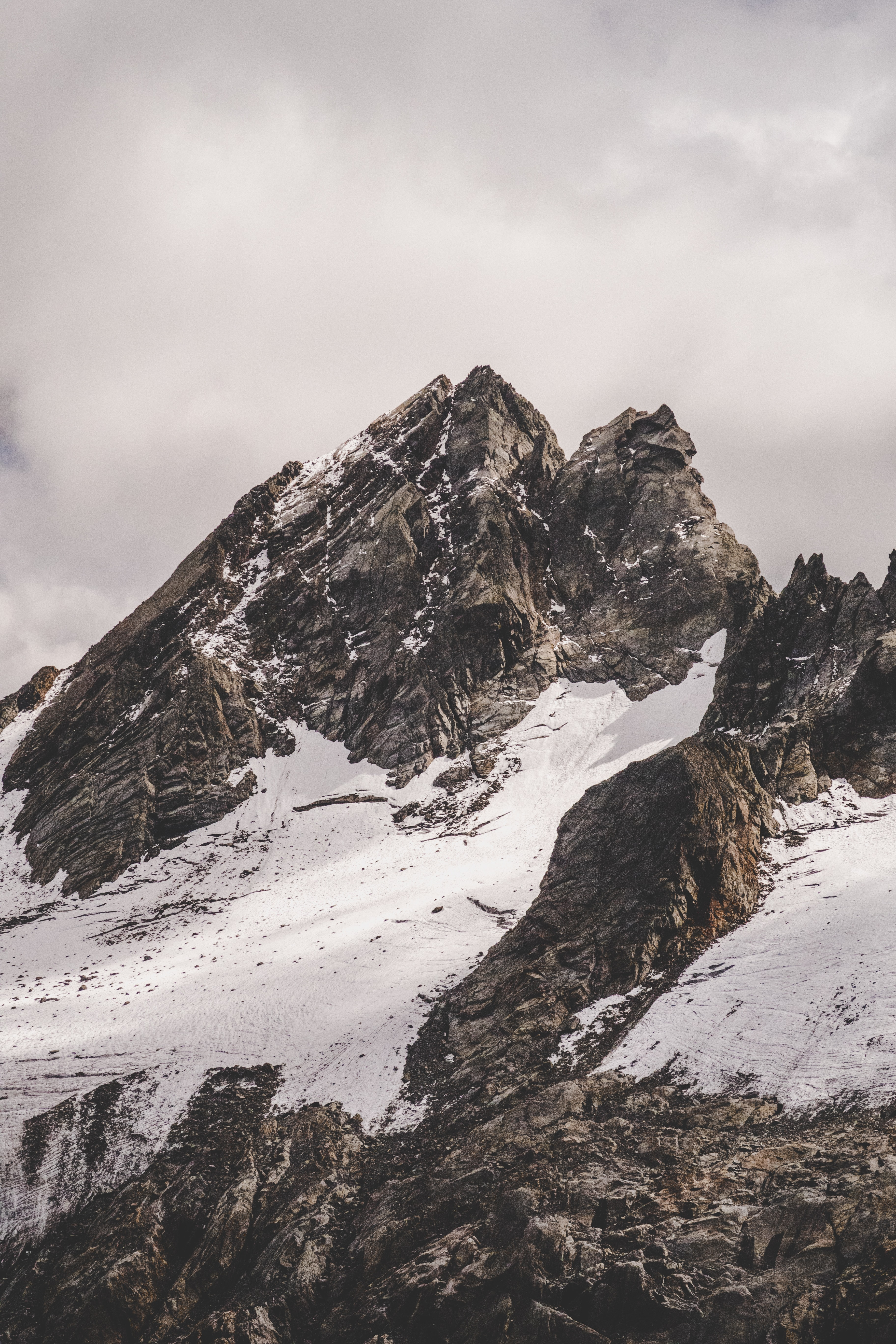 low-angle photography of snow covered mountain during daytime