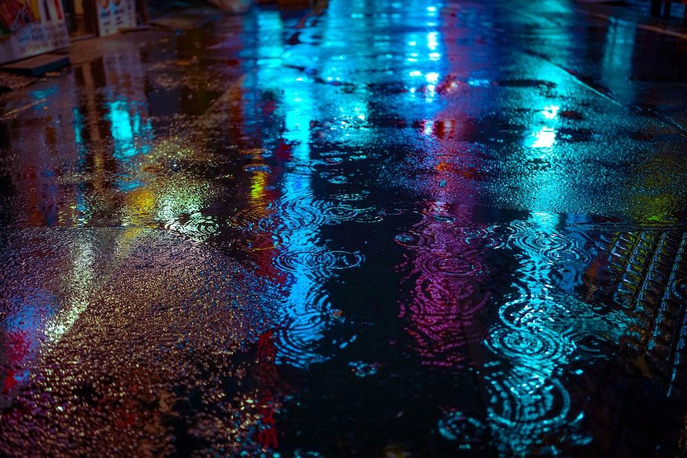 wet concrete road