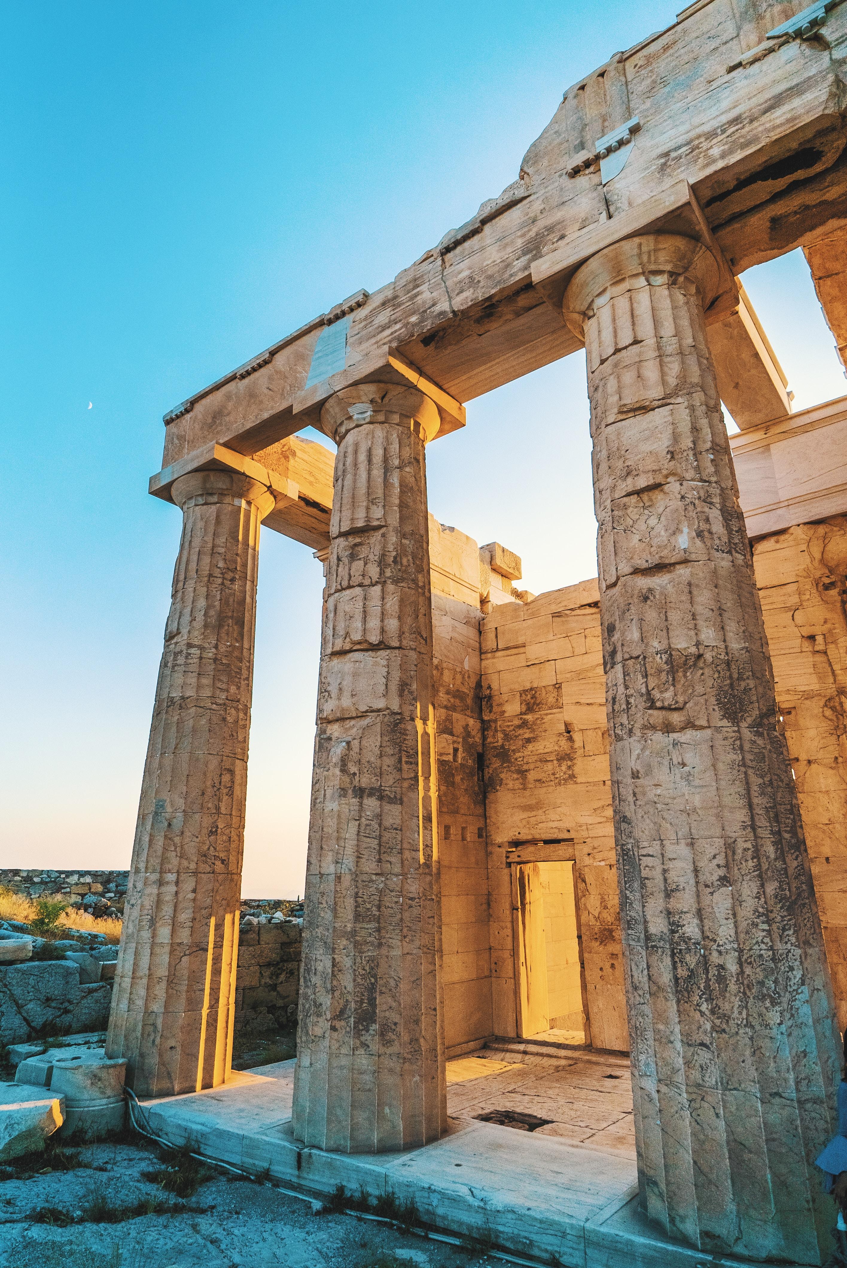 column ruins during daytime