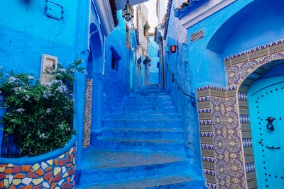blue concrete house morocco zoom background