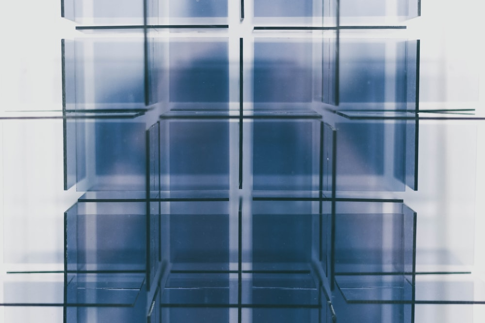 clear glass cube shelves