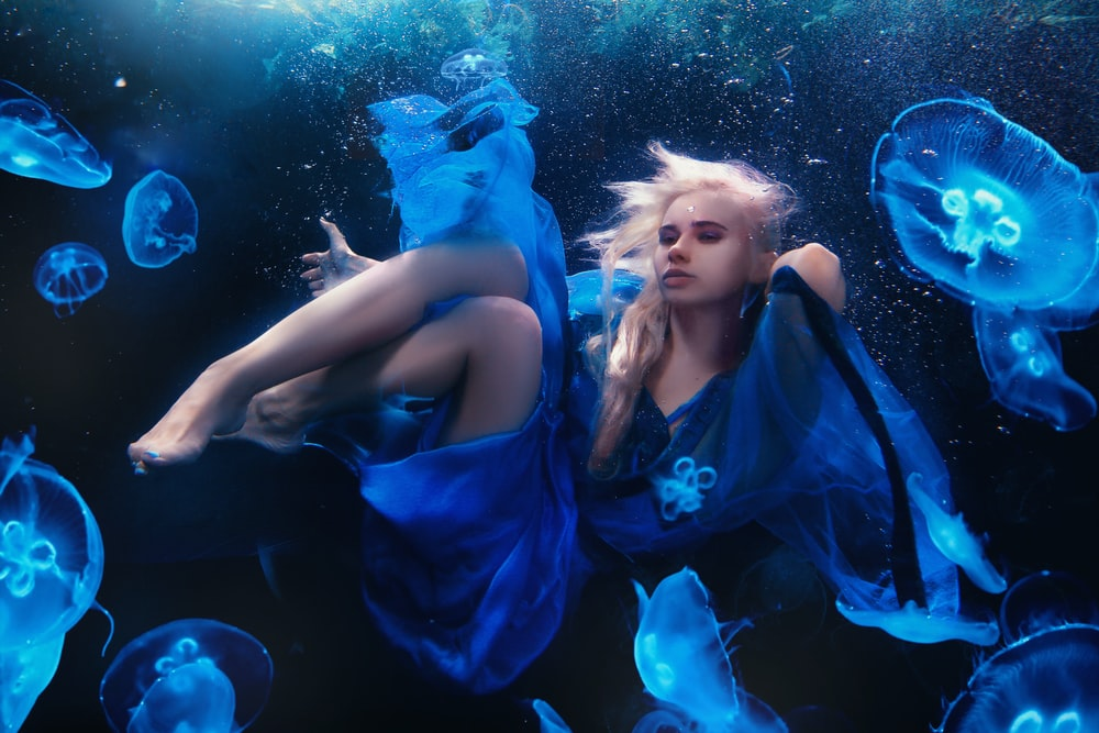 woman in blue dress wallpaper