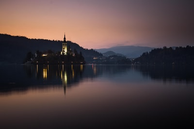 low-light photo of calm body of water slovenia zoom background