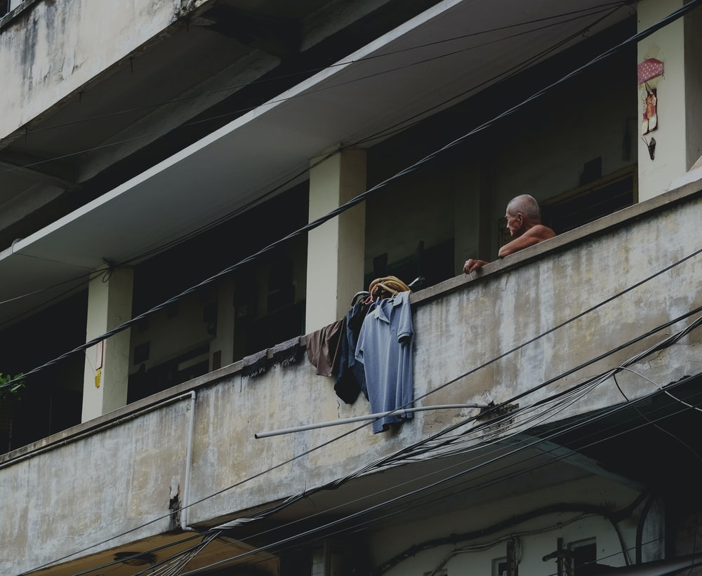 clothes hanging on the veranda