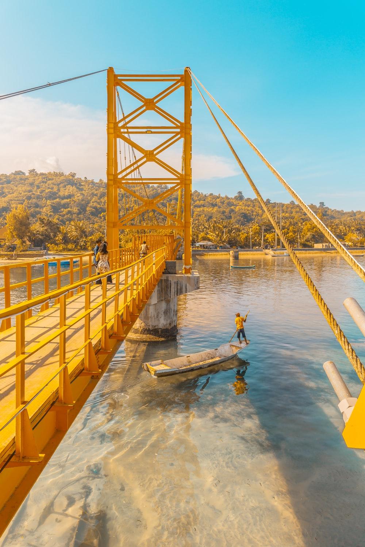 yellow metal bridge