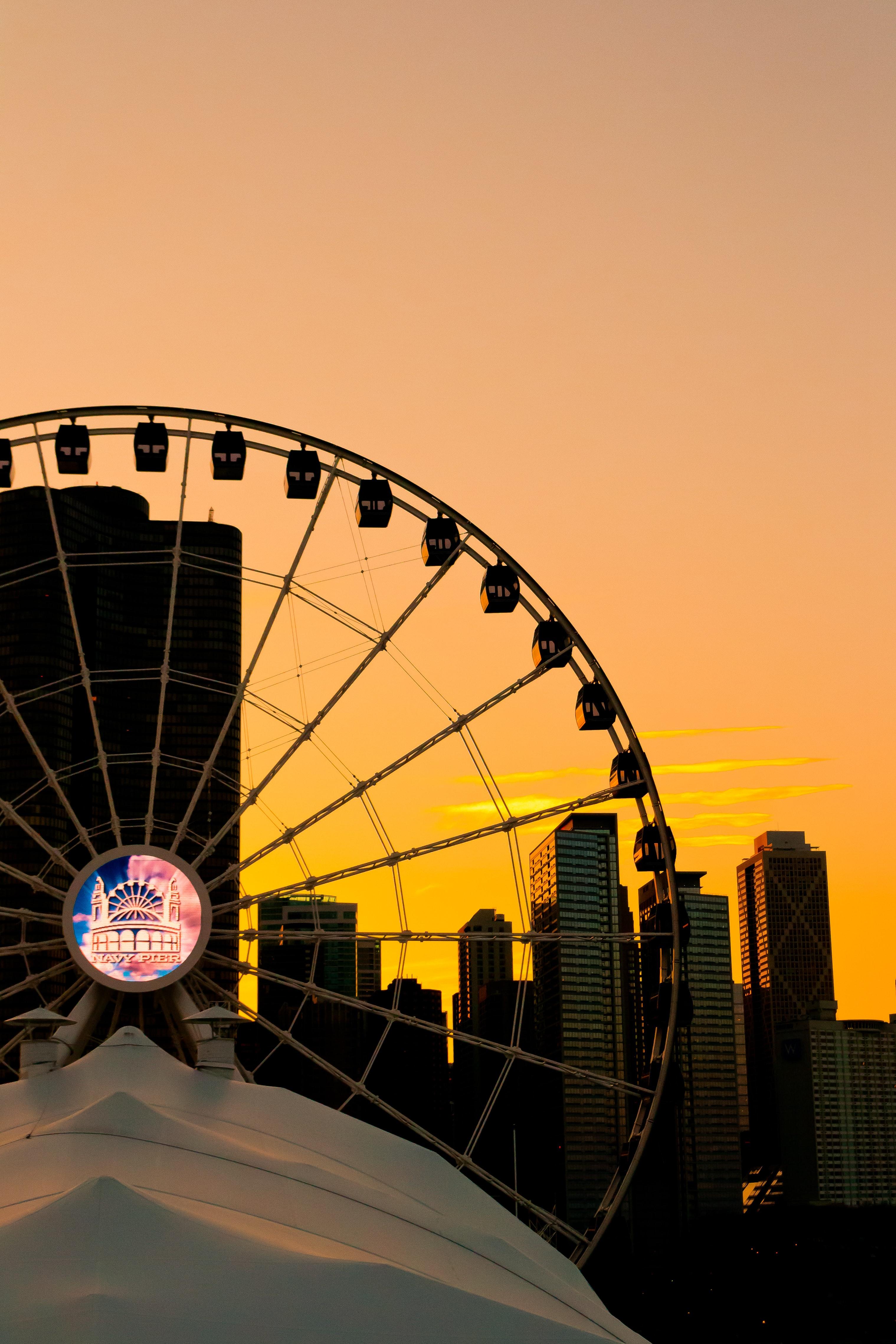 Silhouette Of Ferris Wheel During Golden Hour Photo Free Amusement Park Image On Unsplash