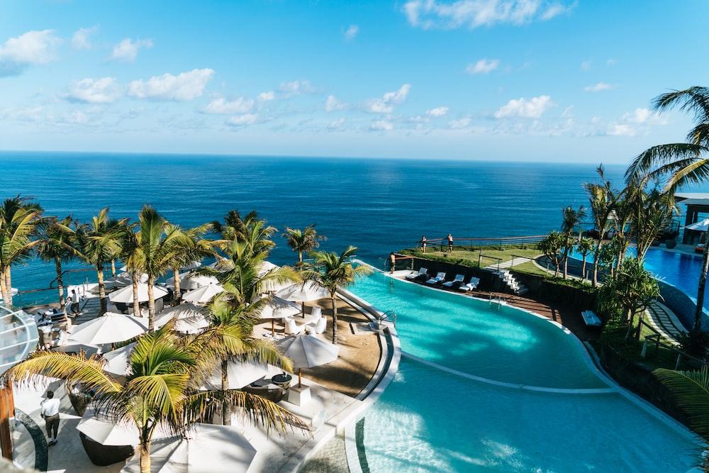 swimming pool near ocean