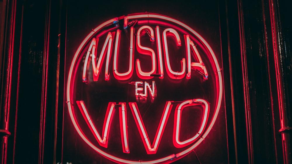 red Musica En VIvo neon light