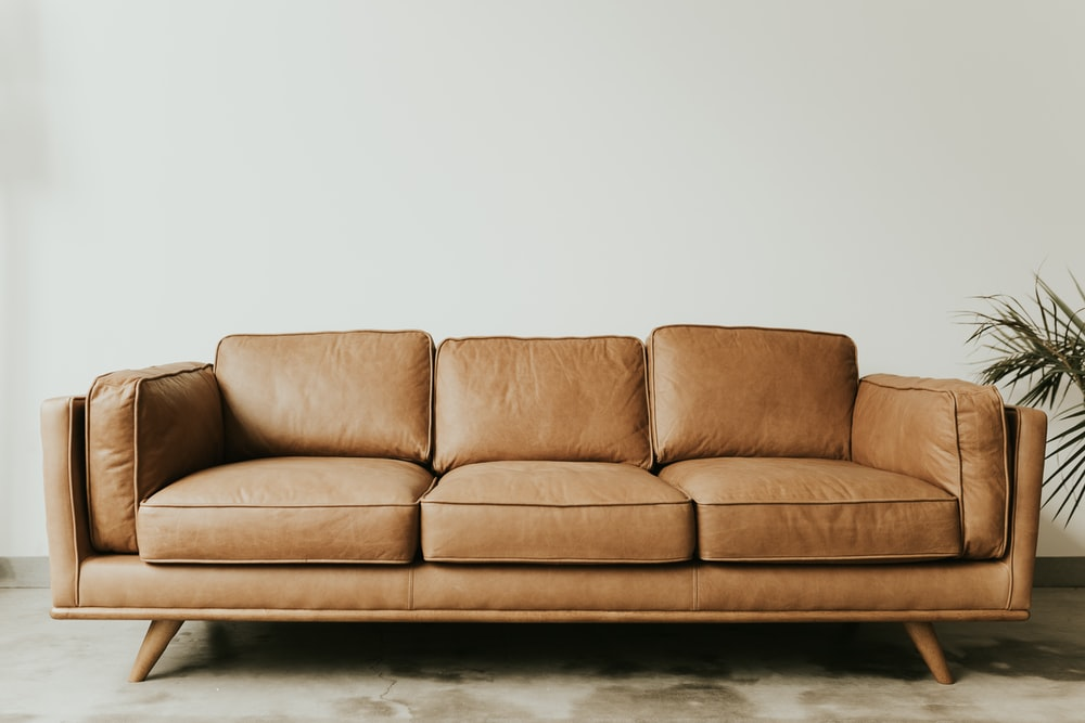brown leather 3-seat sofa