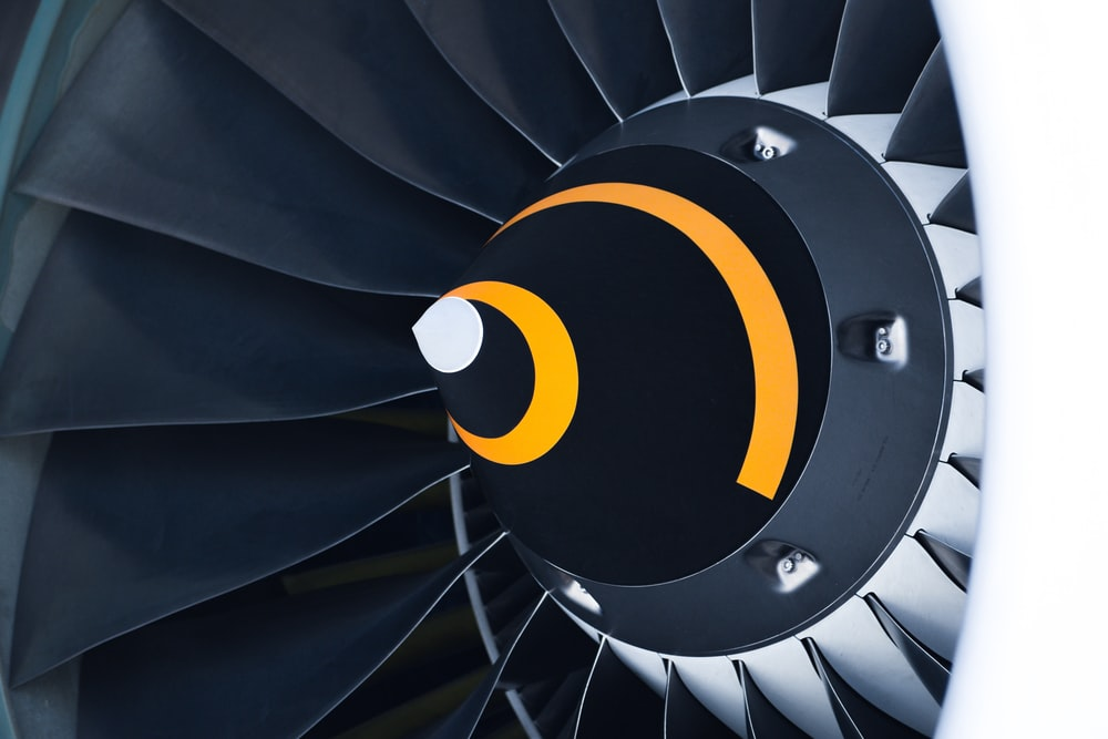 black and white airliner turbine