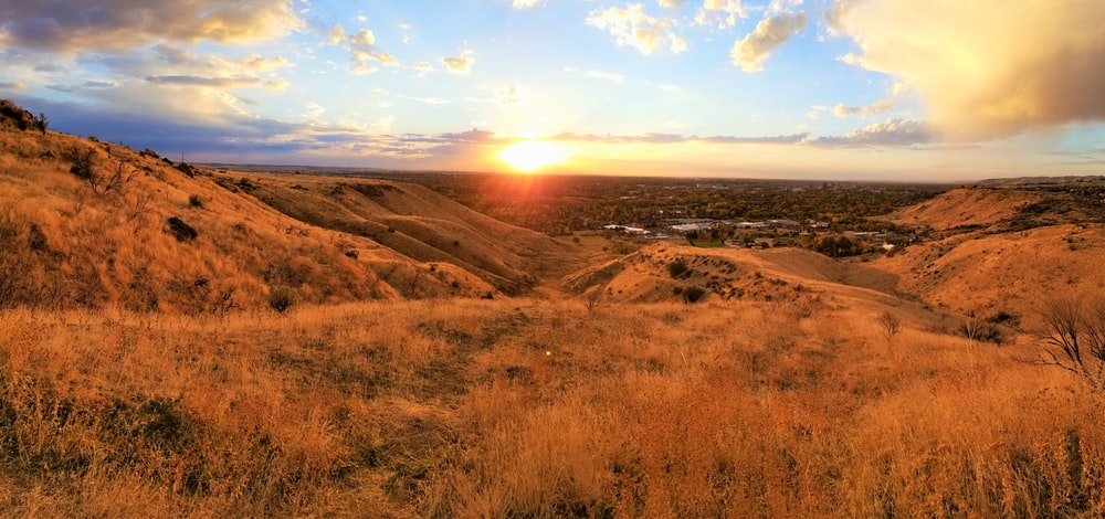 mountain views during golden hour