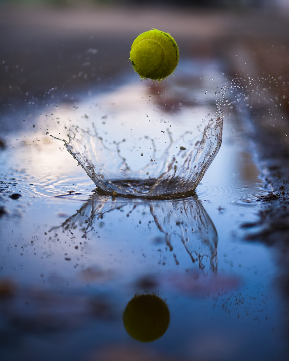 green tennis ball bouncing on water