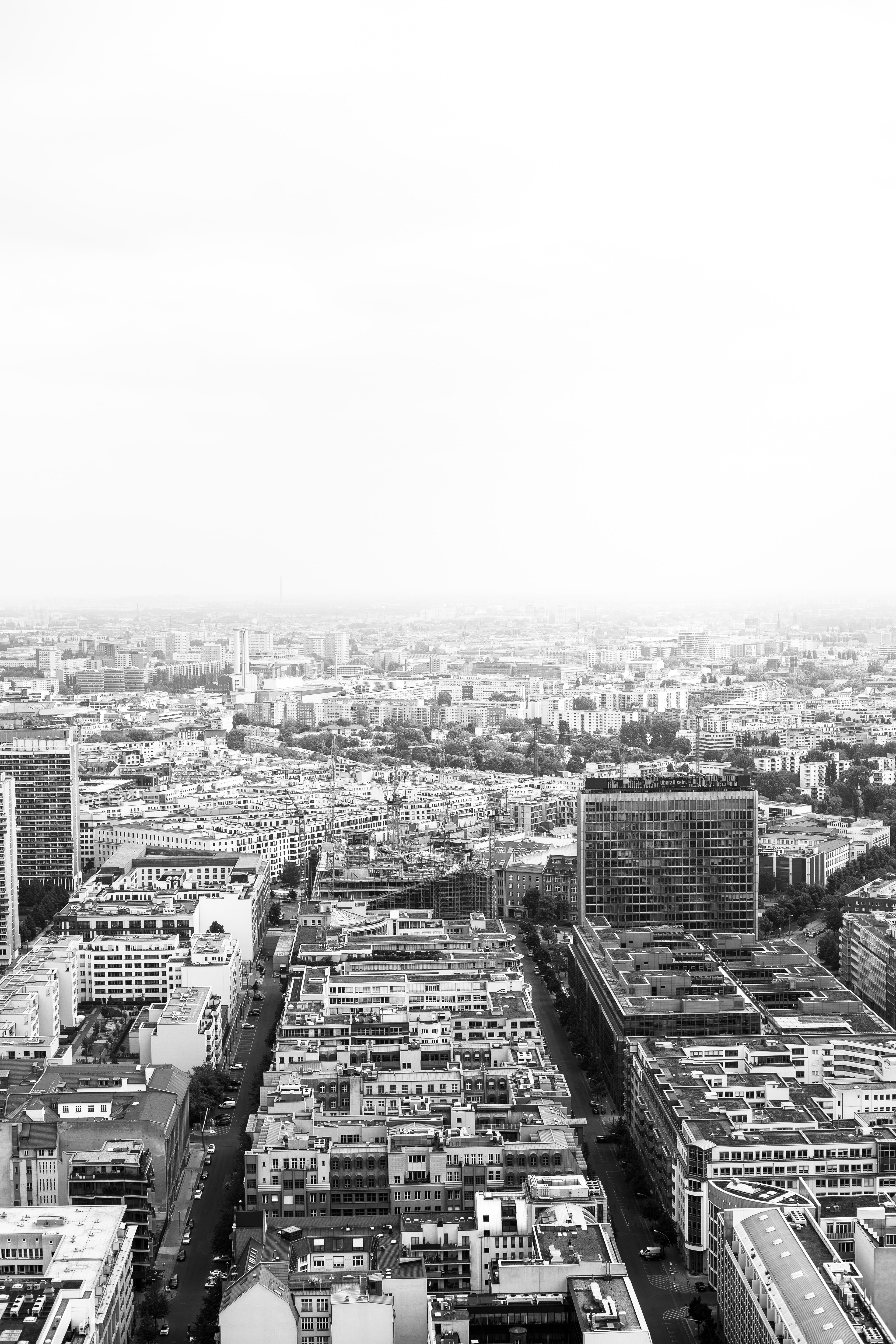 grayscale aerial photo of buildings