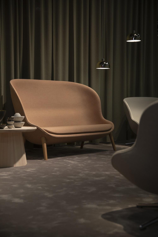 vacant brown fabric sofa