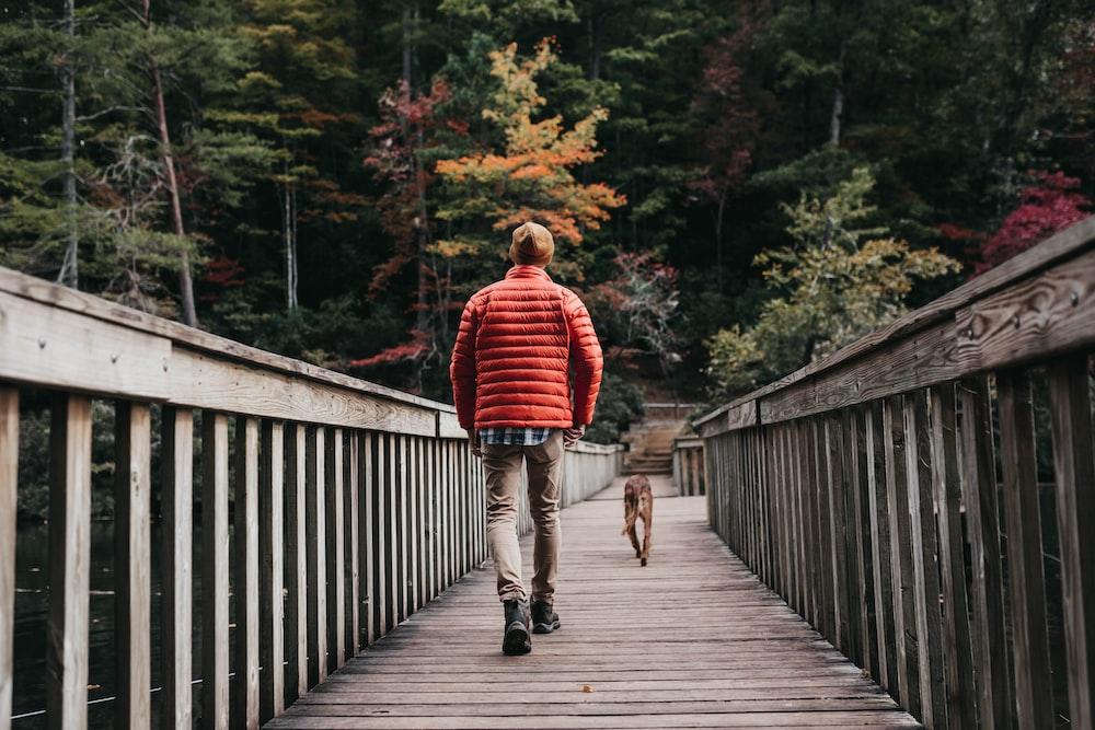 man walking on bridge beside dog during daytime
