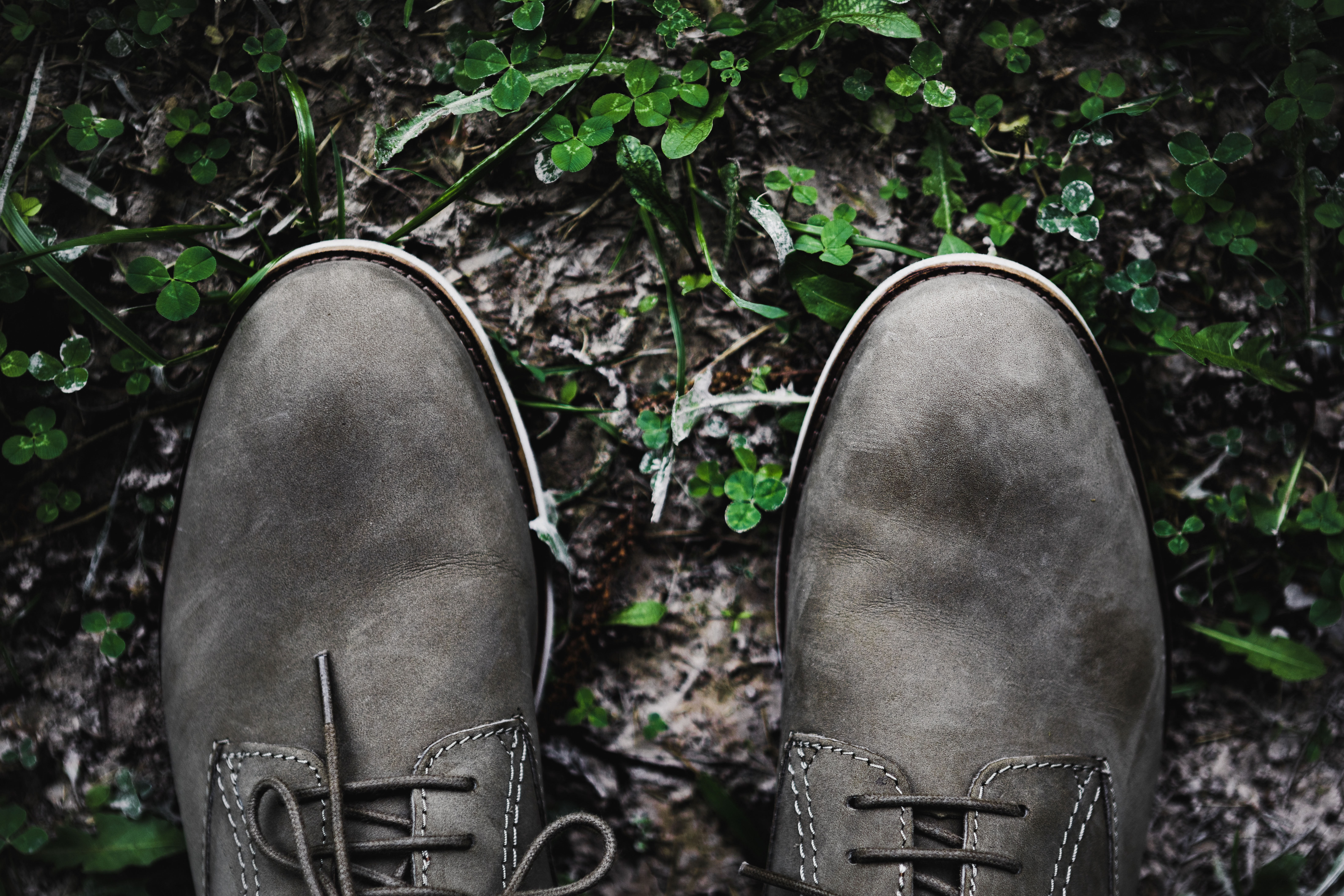 flat lay photography of black shoes