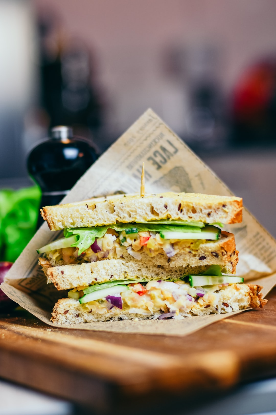 A vegan sandwich with chickpea salad