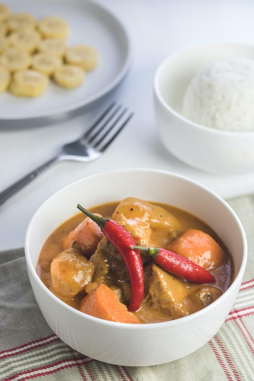 food in white ceramic bowl