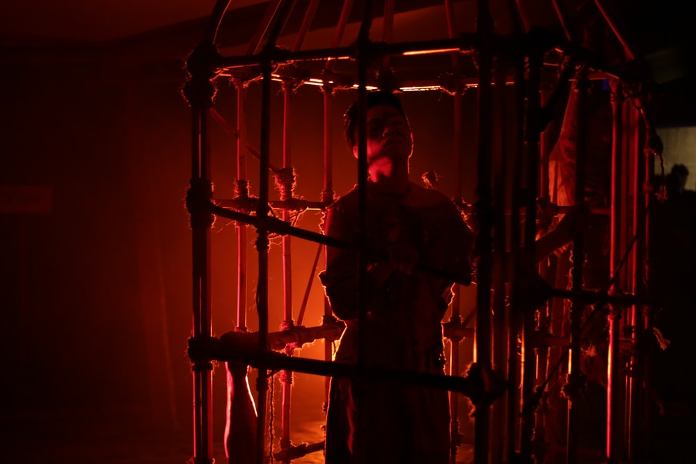 person standing in cage