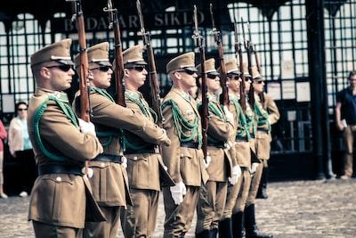 men holding guns troops teams background