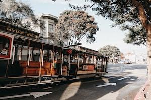 brown tram