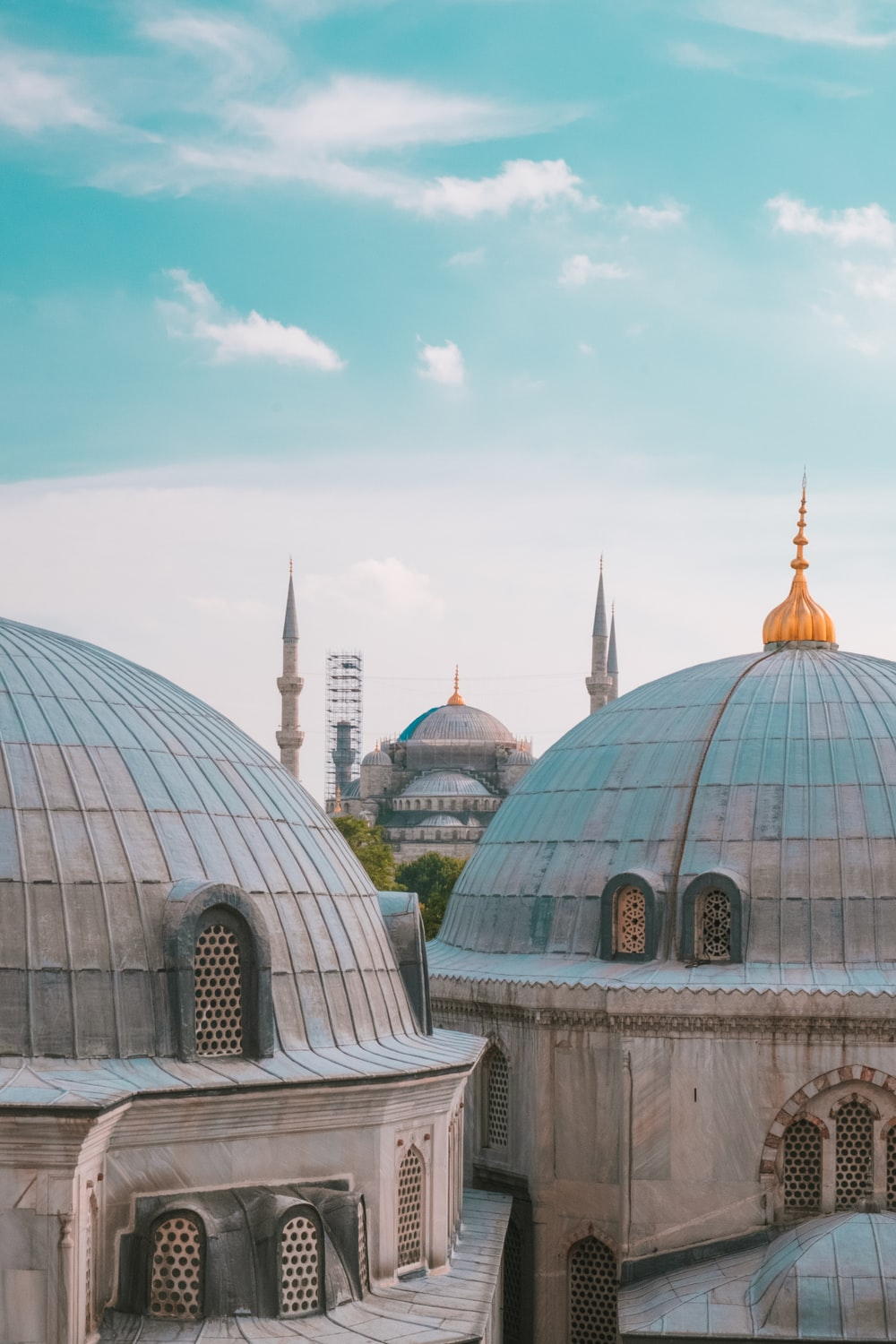 blue domed mosque through mosques during daytime
