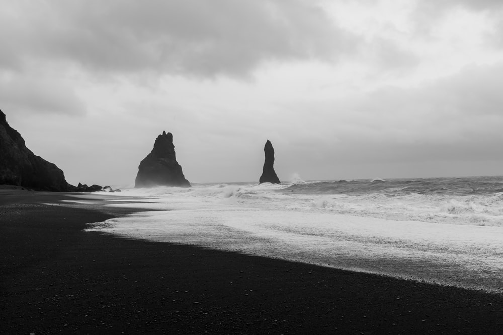 seashore in grayscale photography
