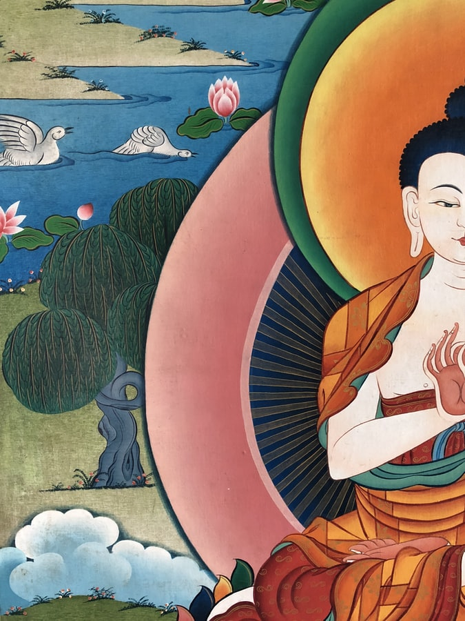 Buddha painting in the monasteries in North east India