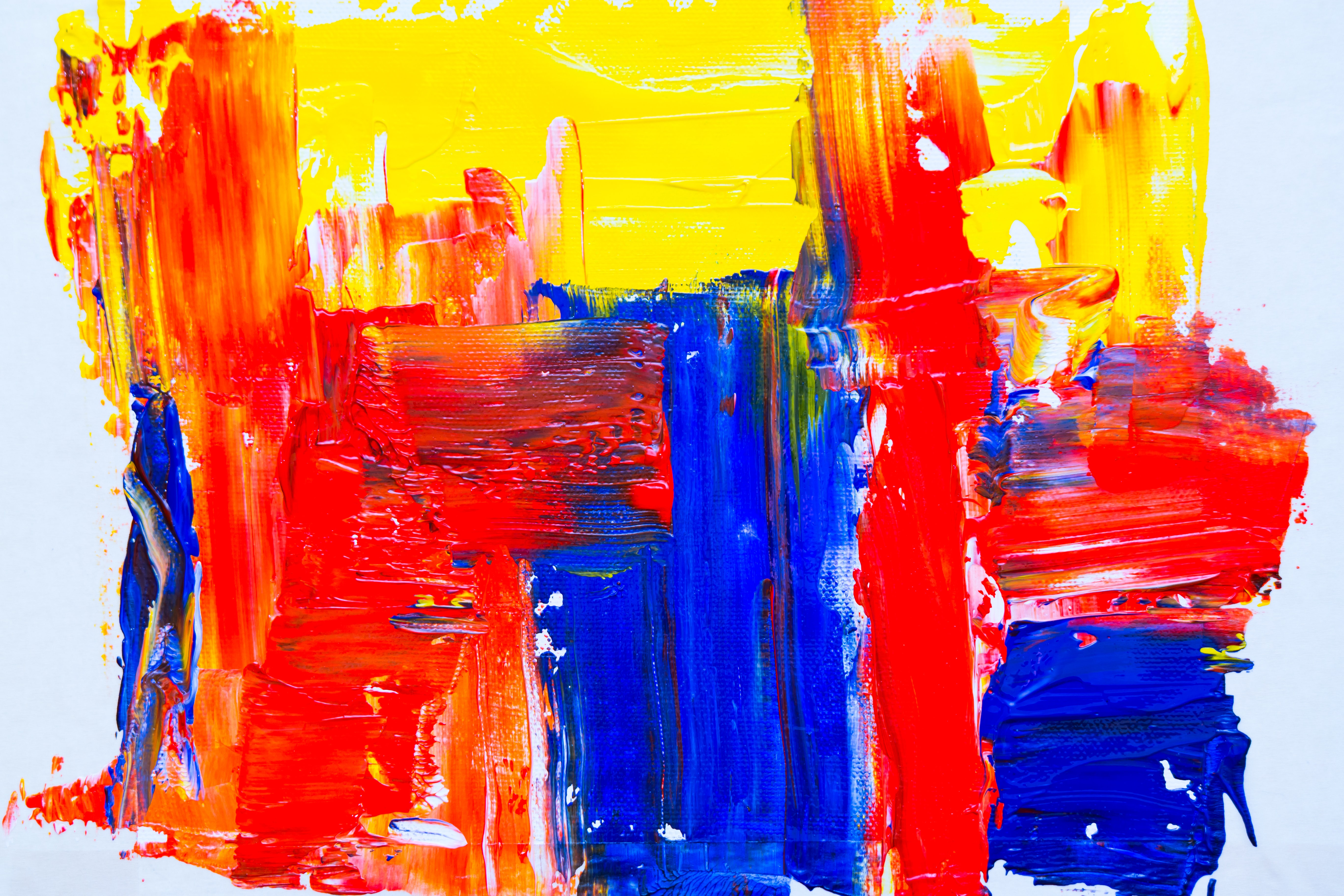blue, red, and yellow paint illustration