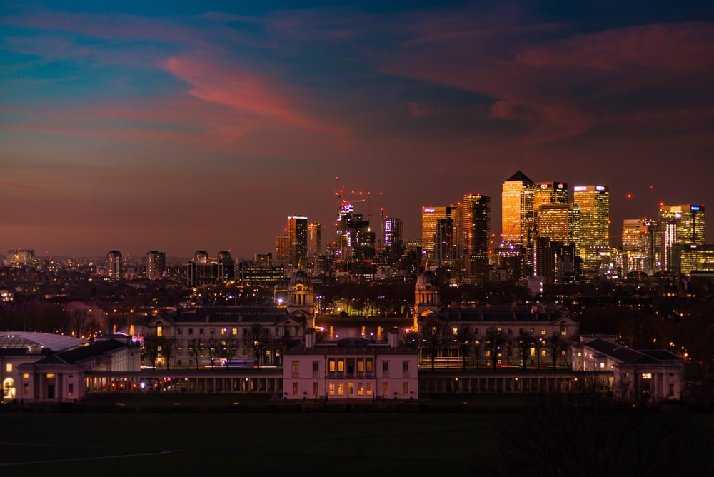lighted-up city skyline