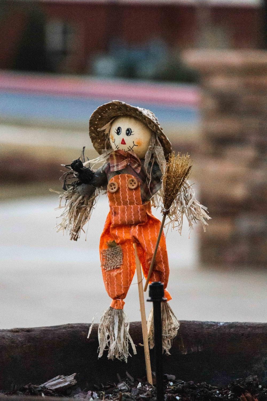 scarecrow selective focus photography