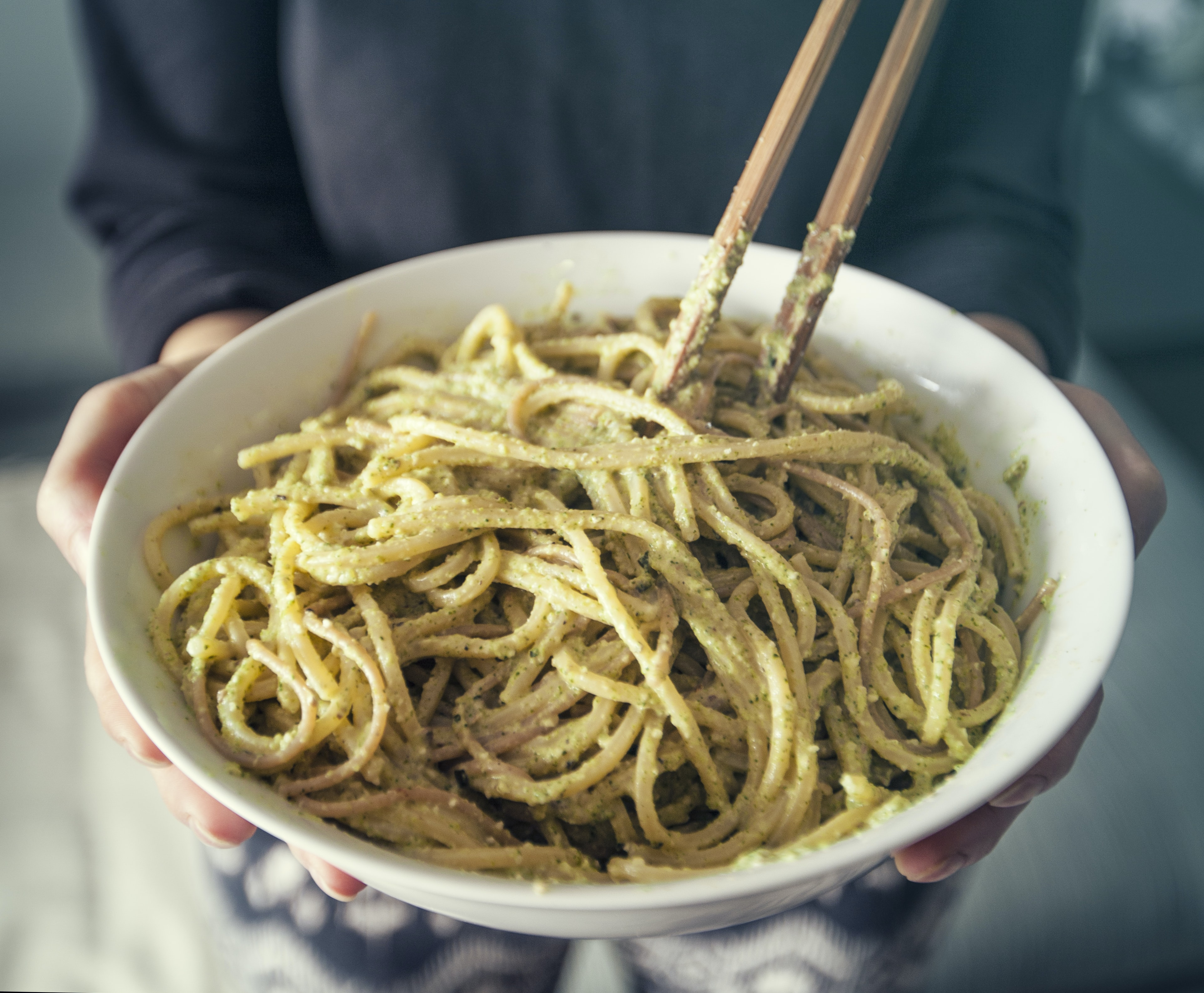 noodles on white bowl