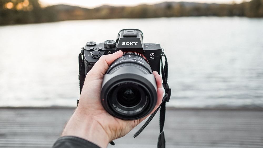 selective focus photo of person holding black Sony Alpha camera